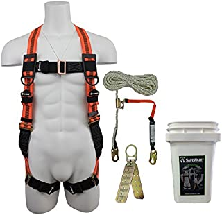 SafeWaze V-LINE Fall Protection Roofing Kit in a Bucket, Includes Safety Harness with Waist Belt, Rope with Rope Grab and Reusable Roof Anchor, OSHA/ANSI Compliant