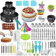 Cake Decorating Supplies,393 PCS Cake Decorating Kit 3 Packs Springform Cake Pans, Cake Rotating Turntable,48 Piping Icing...