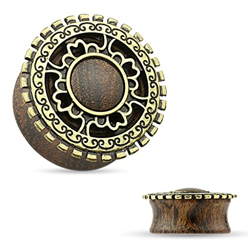 Coolbodyart Tapsi´s Saddle Plug Holz Organisch Tribal Messing Schild Antik Gold 4mm