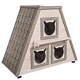 Madera Exterior Cat House W/3Separado Dormir Zonas. Esta Casa de Madera Gato es un...