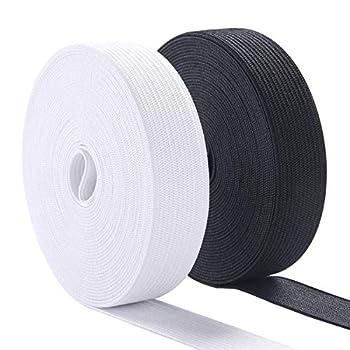 Sewing Elastic Band 3/4 Inch Wide Heavy Stretch High Elasticity Knit Elastic Band for Sewing Waistband Elastic 10 Yard  5 Yard White,5 Yard Black