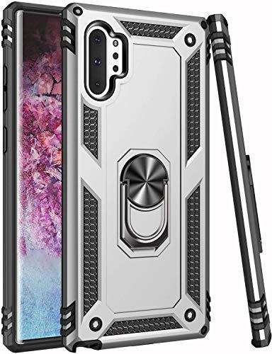 Suhctup Custodia Compatibile con Samsung Galaxy J4 Plus / J4 Prime / J4 Core Cover,360° Girevole Regolabile Ring supporto PC duro Silicone Morbido Protezione del Materiale Misto Armor Cover (Argento)