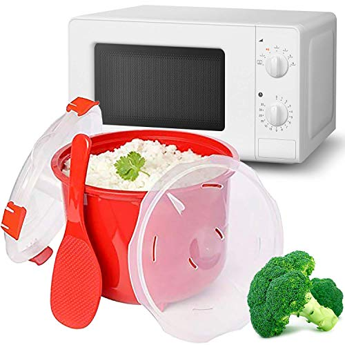 MovilCom® - Stoompot voor Rijst | Magnetron Pot | Snelle Koken Stoomboot 2.6 L Kip Rijst Cous Quinoa | Rood