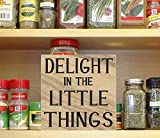 Lplpol - Señal inspiradora de madera, Delight In The Little Things, signo edificativo, esperanza, cita inspiradora, simple placeres, Enjoy Little Things 30 x 12 cm
