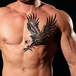 TAFLY Men's Temorary Tattoos Black Large Eagle Wings Pattern Chest Transfer Tattoo Stickers for Men 2 Sheets