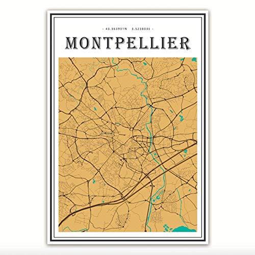 LiMengQi2 Frankreich Montpellier Regenbogen Stadtkarten Leinwandbilder Bunte Karte Vintage Kraft Poster Beschichtete Kunstdrucke Home Decor Geschenk (kein Rahmen)