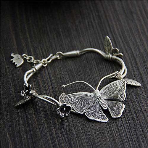 shangwang 925 Sterling Silver Bracelet Ladies Butterfly Charm Bracelet Silver Handmade Bracelet High Jewelry