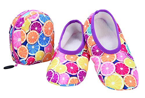 Snoozies Skinnies & Travel Pouch | Purse Slippers for Women | Travel Flats with Pouch | Cute Prints Mixed Designs | Citrus | Medium