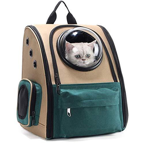 LYDIANZI Transportín Perro Gato Pet Mochila, morral del Portador del Gato for los Gatos Bolsa de Viaje Grande del Perro del Portador del Green Pet Carrier Bicicletas cómodo y Transpirable
