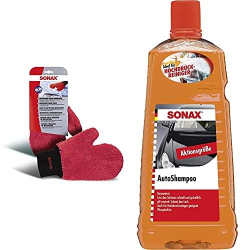SONAX 04282000 Guanto Da Lavaggio In Microfibra, 1 Pezzo & Auto Shampoo 2 L