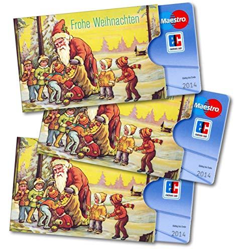 """3x Weihnachts-Kartenhülle cardbox """"Frohe Weihnachten"""" - DIE ETWAS ANDERE WEIHNACHTSKARTE - ideale Verpackung von Geschenkgutscheinen / Gutscheinkarten oder Geld Kartenschuber Geldgeschenk-Verpackung Bankkartenhülle X-Mas Weihnachtsmotiv Nikolaus Weih"""