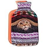 Wärmflasche mit Motiv 2 Liter, Wärmekissen mit abnehmbaren Flauschigen Bezug in vielen Variationen (Auswahl: Katze braun)