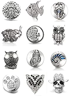 Lovglisten New 12pcs Snaps Jewelry 18MM-20MM Flower Shape Snap Jewelry Charms