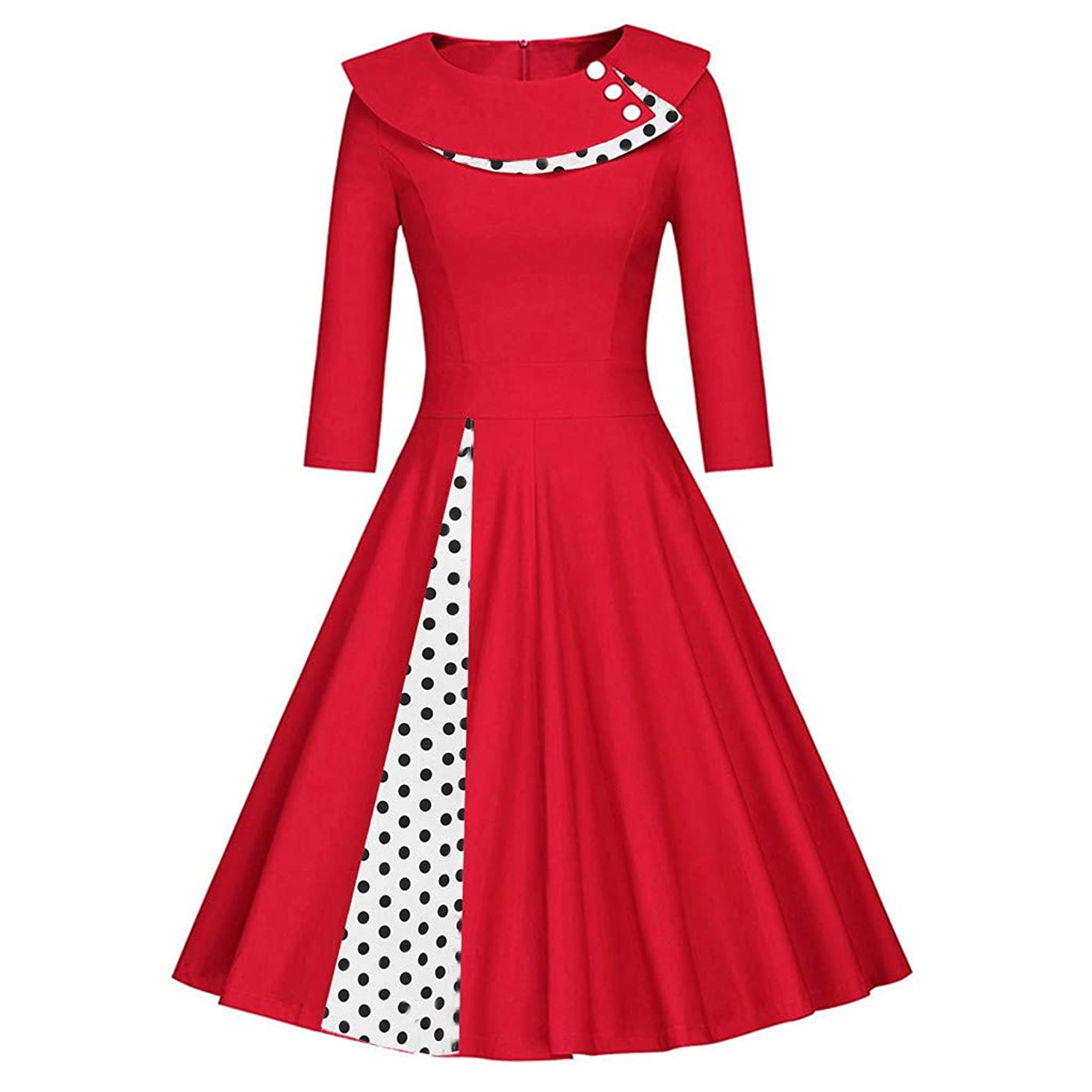 Women Summer Casual 1950s Vintage Dresses Swing Polka Dot Cocktail Prom Party Hepburn Dress