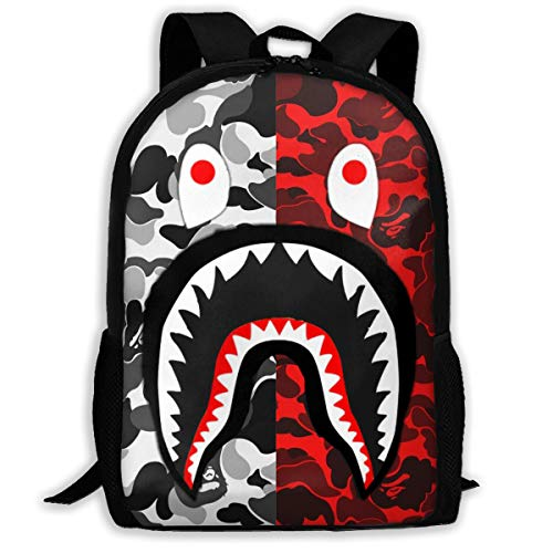 DISINIBITA Bape Blood Shark Backpack Teenagers Student School Bag Children Fashion Book Bag For Boys/Girls Black Gray and Red