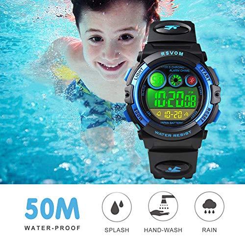 Montres Enfants garçons, Montre numérique Digitale 5 étanche 12/24H/chronomètre/EL colorée,...