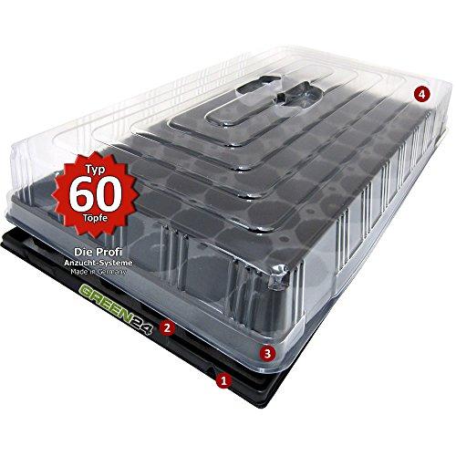 GREEN24 Hydroponik 60 Zimmer-Gewächshaus Profi XL mit automatischer Bewässerung für die Anzucht Zimmer Treibhaus mit Wanne + Kapillarsystem + Topfplatte + Haube