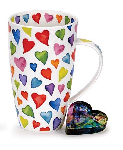 Dunoon Tasse en porcelaine Motif cœurs
