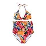 Conjunto de bikini de cintura alta para mujer, estampado de moda, 2 piezas, acolchado, cabestro brasileño, ropa de playa, naranja, S