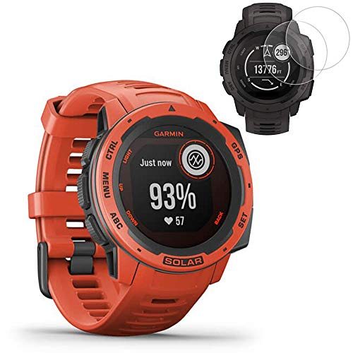 Garmin Instinct Solar GPS Smartwatch - Flame Red (010-02293-21) w/ 2X Screen Protectors