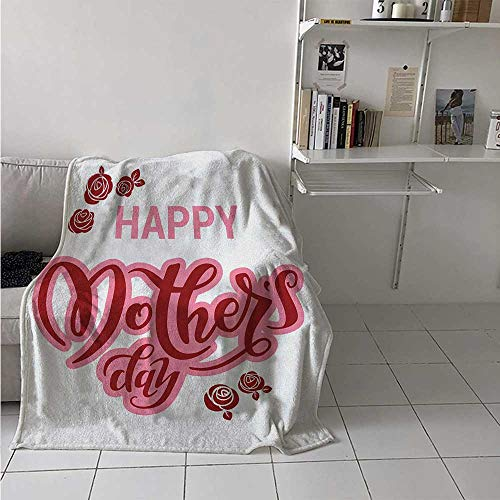 Soft Blanket Throw Quote Plush and Nicely Colored Happy Mothers Day Greeting Text in Pink and Red Shades with Rose Blooms for University Flat Pale Pink Ruby and White 60x90 Inch