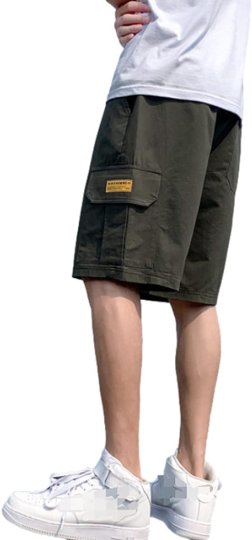 Men's Multi-Pocket Cargo Shorts Fashion Solid Color Loose Straight Comfortable