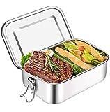 Brotdose Edelstahl Auslaufsicher 1000 ml mit Fächern Lunchbox,Lunchbox Brotbox Vesperdose Brotbüchse Brotzeitbox,Kind Schule Kindergarten,Brotdose Kinder,Lunchbox Edelstahl