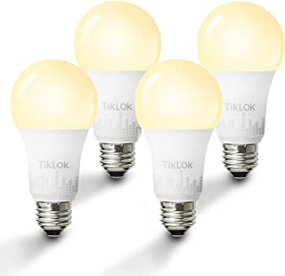 Smart LED Light Bulb, TIKLOK WiFi Dimmable Soft White A19 E26 Bulb, Work with Alexa and Google Home, 2700K 60W Equivalent, Easy Setup Control, No Hub Required (4 Pack)