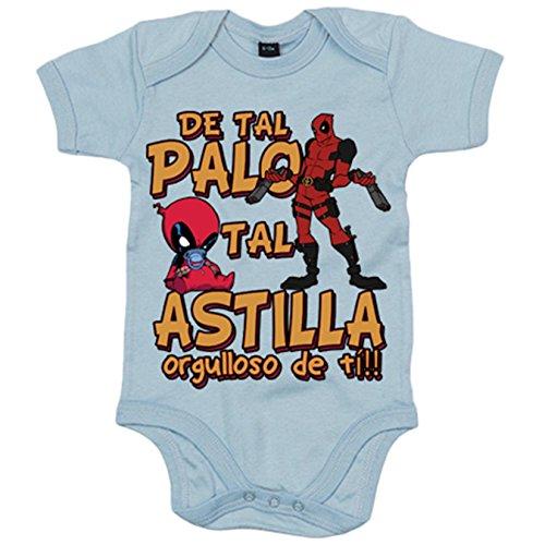 Body bebé parodia superhéroe malote rojo de tal palo tal astilla orgulloso de ti - Celeste, 6-12 meses