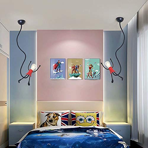 Lámpara colgante de techo LED con forma de superman de Iron Chandelier de Little Man con base de lámpara E27, lámpara de hierro creativa para colgar el cuerpo, lámparas de suspensión, 220-240 V