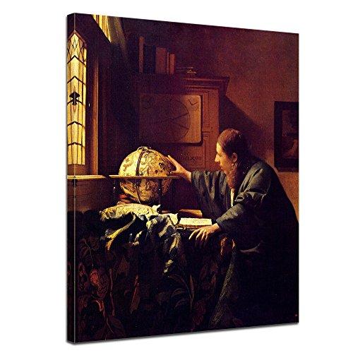 Wandbild Jan Vermeer Der Astronom - 50x60cm hochkant - Alte Meister Berühmte Gemälde Leinwandbild Kunstdruck Bild auf Leinwand