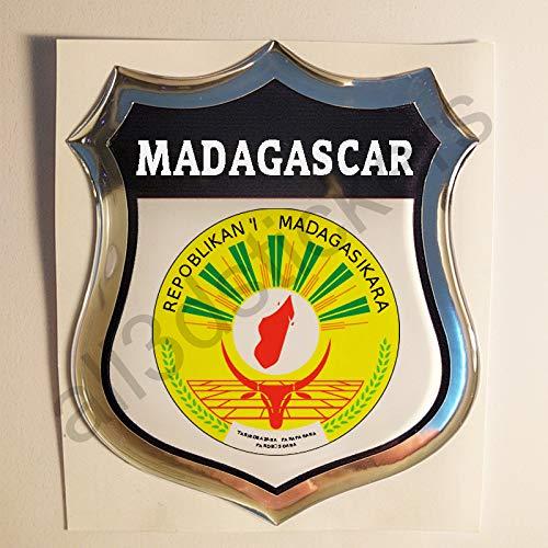 All3DStickers Aufkleber Madagaskar Wappen Kfz-Aufkleber Madagaskar Emblem Gedomt Flagge 3D Fahne