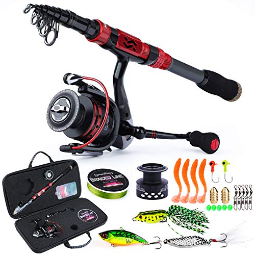 Sougayilang Telescopic Fishing Rod Combos with Protable Fishing Pole Spinning Reels Fishing Carrier Bag for Travel Saltwater Freshwater Fishing(1.8M/5.91FT)
