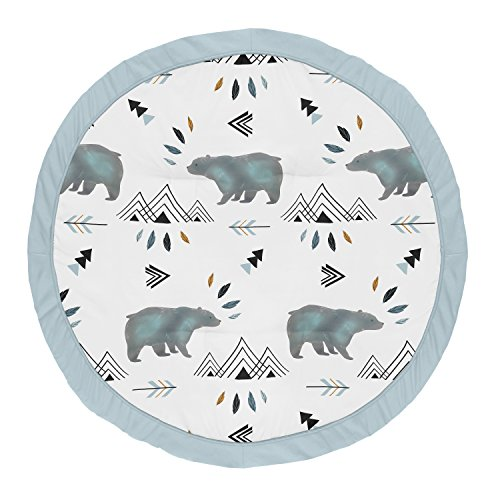 Sweet Jojo Designs Slate Blue Playmat Tummy Time Baby and Infant Play Mat for Bear Mountain Watercolor Collection