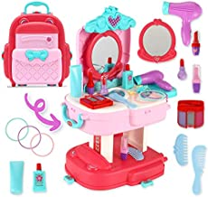 Pretend Makeup and Vanity Set for Little Girls, Toddlers, and Kids, 30 Pcs Princess Toys, Dress Up Activity, and Mini Beauty Salon with Mirror, Lipstick, Nail Polish in Easy Assembly Vanity/Backpack