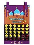 Mioloe Eid Mubarak Ramadan Countdown Kalender, Eid Mubarak Wand Countdown-Kalender 30 Tage Kalender mit Taschen&30PCS Sternen (Lila)