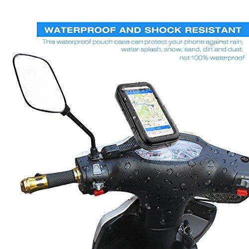 Wasserdicht Motorrad-Telefonhalter, SZSMD 360 ° Voll Motorrad Halterungen Fall Halter Universell passend für Geräte bis zu 5.5-6 Zoll Bildschirm