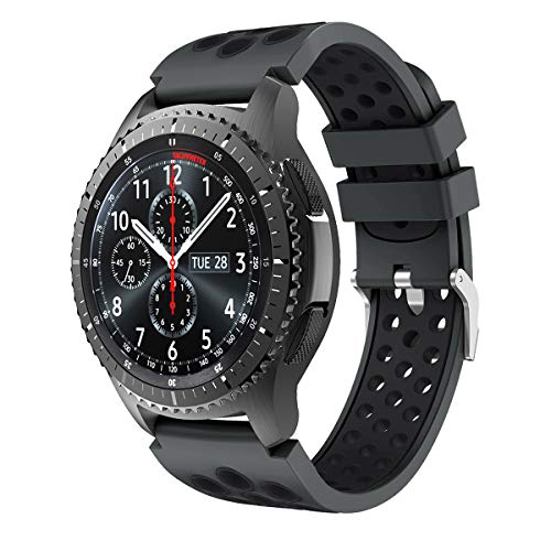 CSVK Compatible con Correa de Reloj Gear S3 Frontier/Classic/Galaxy Watch 46mm/Galaxy Watch 3 45mm, Banda de Silicona Suave Pulsera para Huawei Watch GT 2 46mm/GT 2e/GT Pro/Moto 360 2nd Gen 46mm