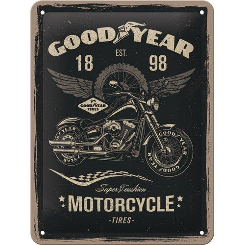Nostalgic-Art Goodyear - Motocicleta - Idea de Regalo para Fans de Coches y Motos Retro Cartel de Chapa de Metal, decoración Vintage 15x20 cm
