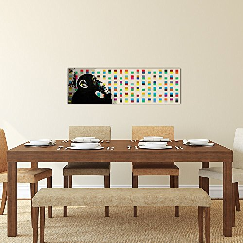 iCanvasART 2012B The Thinker Monkey Color Dots Panoramic Canvas Print by Banksy, 60 by 20-Inch, 0.75-Inch Deep