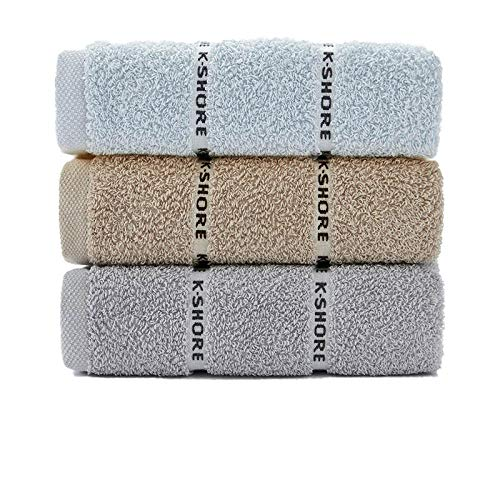 3 Toallas de algodón para Lavar la Cara hogar hogar Adulto Toallas faciales absorbentes Toalla de algodón Toallas de baño Gruesas-3_70x34cm