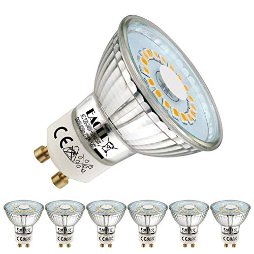 EACLL GU10 LED Warmweiss 5W Leuchtmittel 2700K 535 Lumen Glühbirnen perfekter Ersetzen 50W Halogen Lampen. Kein Strobe, Lichtwinkel 120 Grad Warmweiß Licht Tageslichtweiß Birnen, 6 Pack
