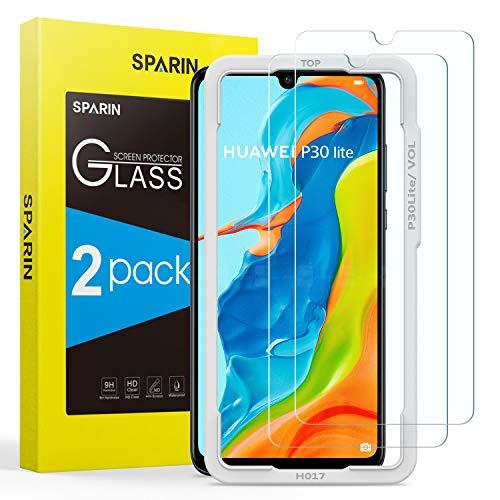 [2 Pezzi] SPARIN Vetro Temperato Compatibile con Huawei P30 Lite, Pellicola Protettiva per Huawei P30 Lite [Strumento di installazione facile] [Ultra Resistente] [Durezza 9H] [Senza Bolle]
