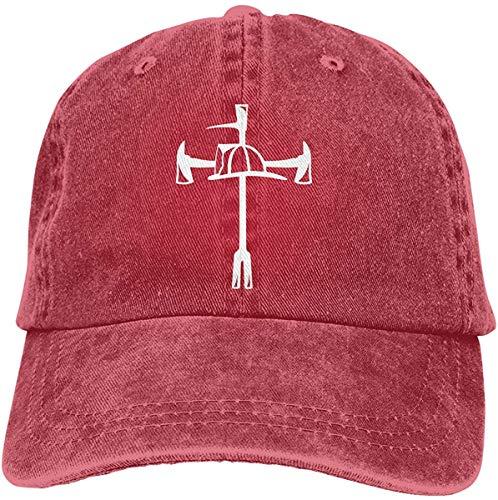 Aghdfssdhg Firefighter Maltese Cross Halligan Hooligan Fire Axe Adjustable Baseball Caps Denim Hats Cowboy Sport Outdoor,Red,One Size
