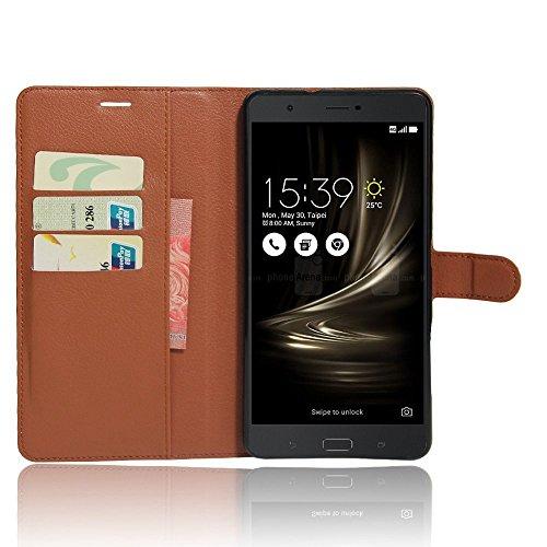 Guran® PU Leder Tasche für Asus Zenfone 3 Ultra (6.8 Zoll) ZU680KL Smartphone Flip Deckung Stehen Funktion & Karte Slot Hülle-braun