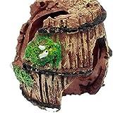 Hemore Decoración de acuario de barril roto de resina para pecera, adorno de acuario, cuevas acuáticas, esconderse choza