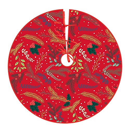 Yakuin Christbaumdecke Rot Weihnachtsbaumdecke Rund(122cm) Baumdecke Weihnachtsbaum Christbaum Unterlage Weihnachtsbaumrock Tannenbaum Dekoration Feiertagsdekoration für Weihnachten, Urlaub, Party