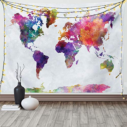 Ambesonne Watercolor Tapestry, Multicolored Hand Drawn World Map Asia Europe Africa America Geography Print, Fabric Wall Hanging Decor for Bedroom Living Room Dorm, 90' X 60', Gray Purple