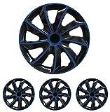 """Fussmatten-Deluxe 4er Set Universal Radkappen Radzierblenden 16 Zoll 16"""" R16 universell für Stahlfelgen vieler Fabrikate Bicolor Schwarz-Blau"""