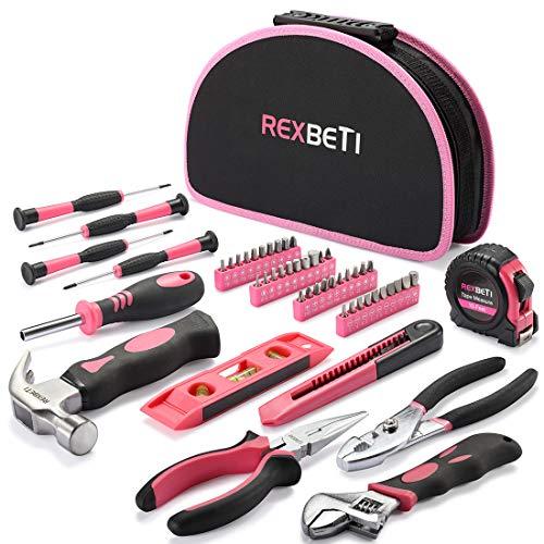 REXBETI 52-Piece Pink Tool Kit, Ladies Premium Solid and Real...